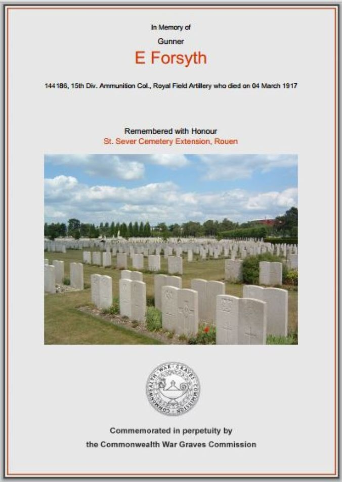 Edward Forsyth commemorative certificate